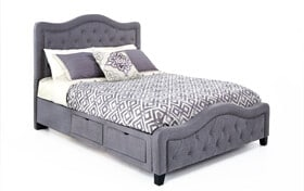 Troy King Gray Upholstered Storage Bed