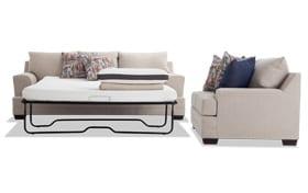 Harmony Beige Bob-O-Pedic Queen Sleeper Sofa & Loveseat