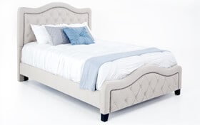 Troy King Taupe Upholstered Bed