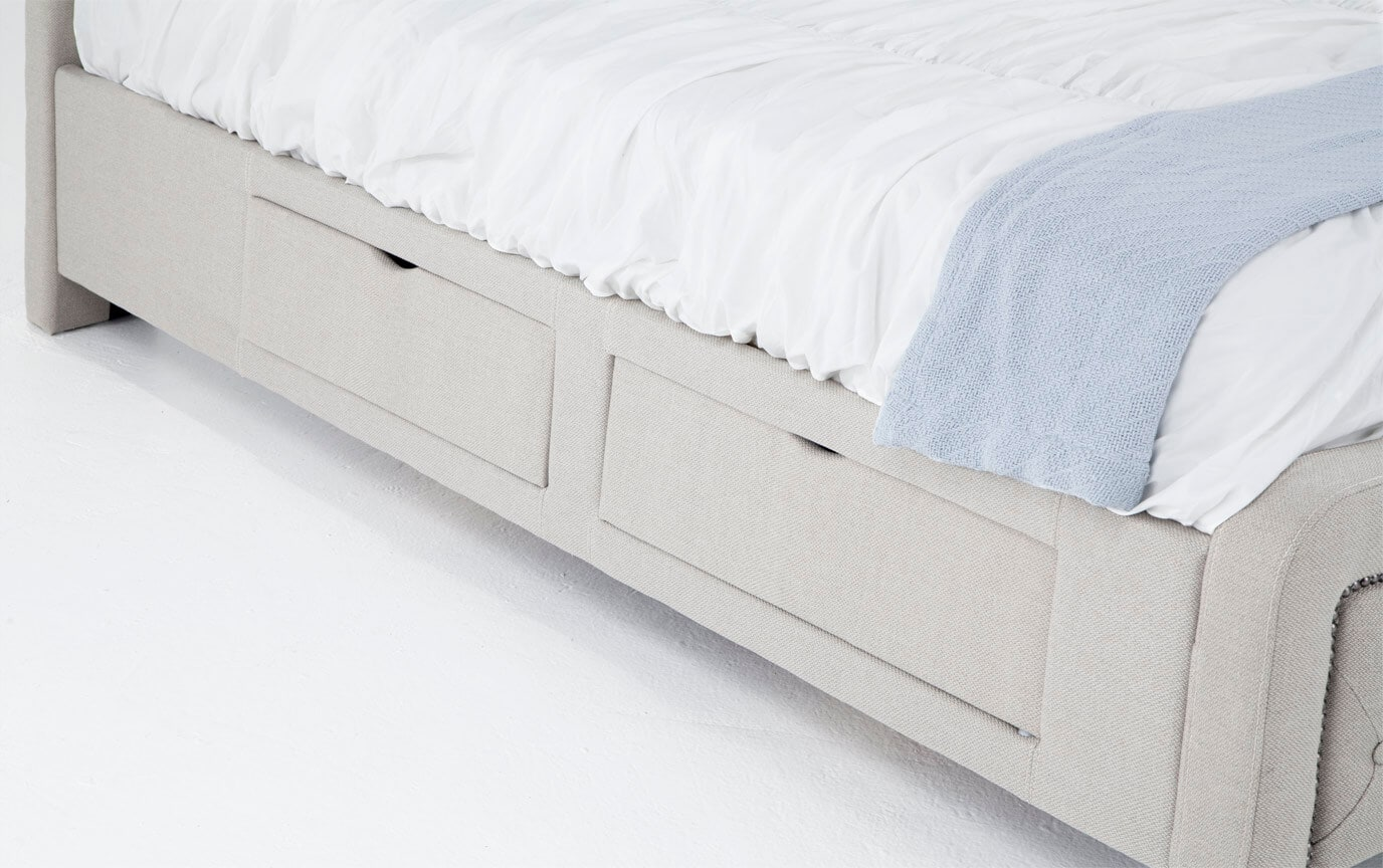 Troy Queen Taupe Upholstered Storage Bed