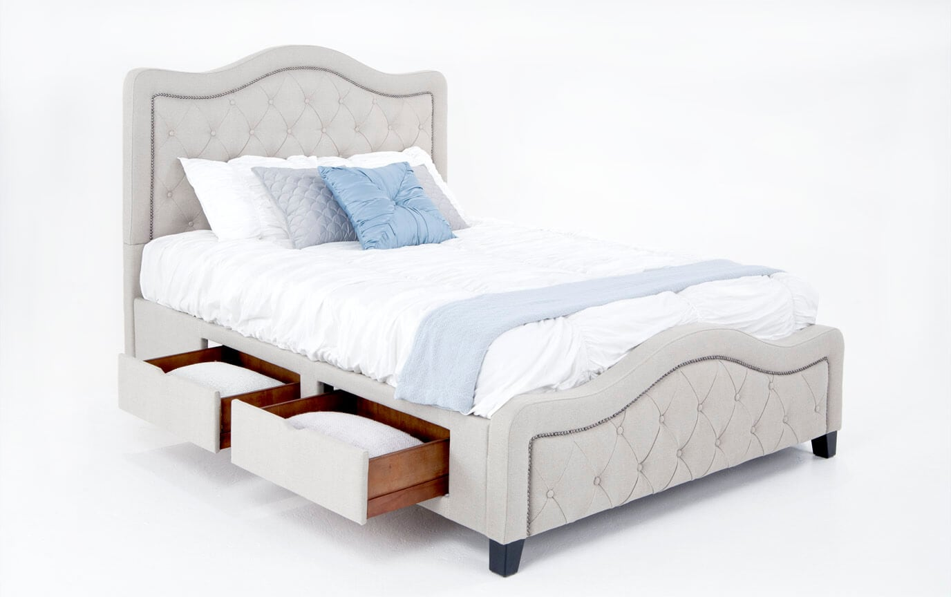 Troy King Taupe Upholstered Storage Bed