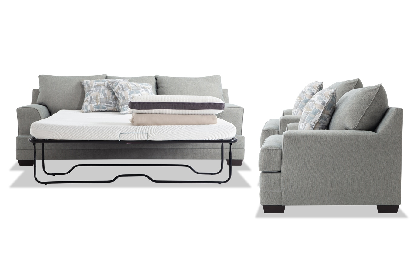 Harmony Sea Foam Blue Bob-O-Pedic Queen Sleeper Sofa & 2 Chairs