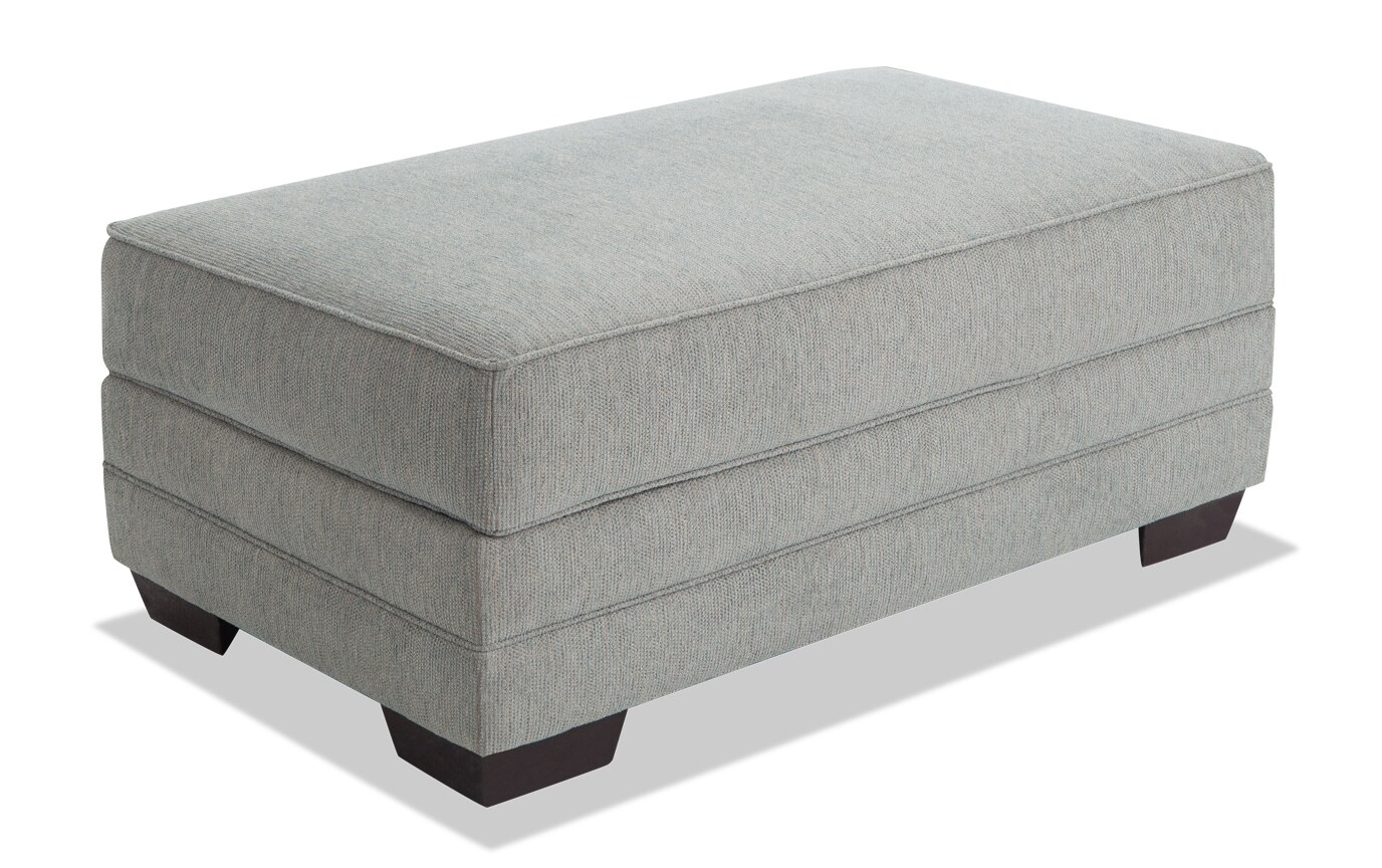 Harmony Sea Foam Blue Bob-O-Pedic Queen Sleeper Sofa, Chair & Storage Ottoman