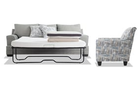 Harmony Sea Foam Blue Bob-O-Pedic Queen Sleeper Sofa & Accent Chair