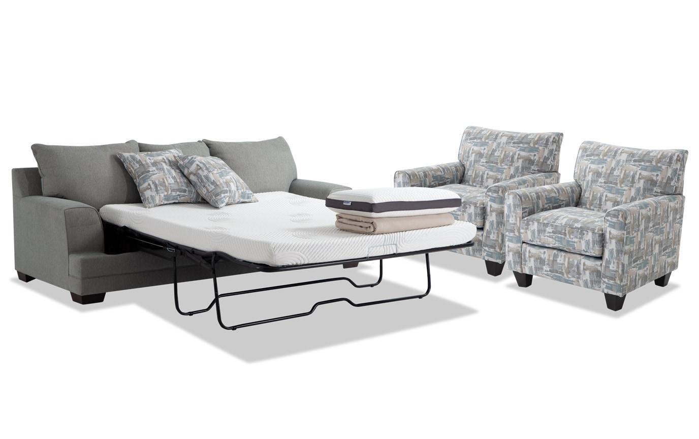 Harmony Sea Foam Blue Bob-O-Pedic Queen Sleeper Sofa & 2 Accent Chairs