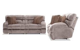 Frank Gray Lay-Flat Reclining Sofa & Loveseat