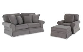 "Katie 72""  Charcoal Sofa & Chair with Storage Ottoman"