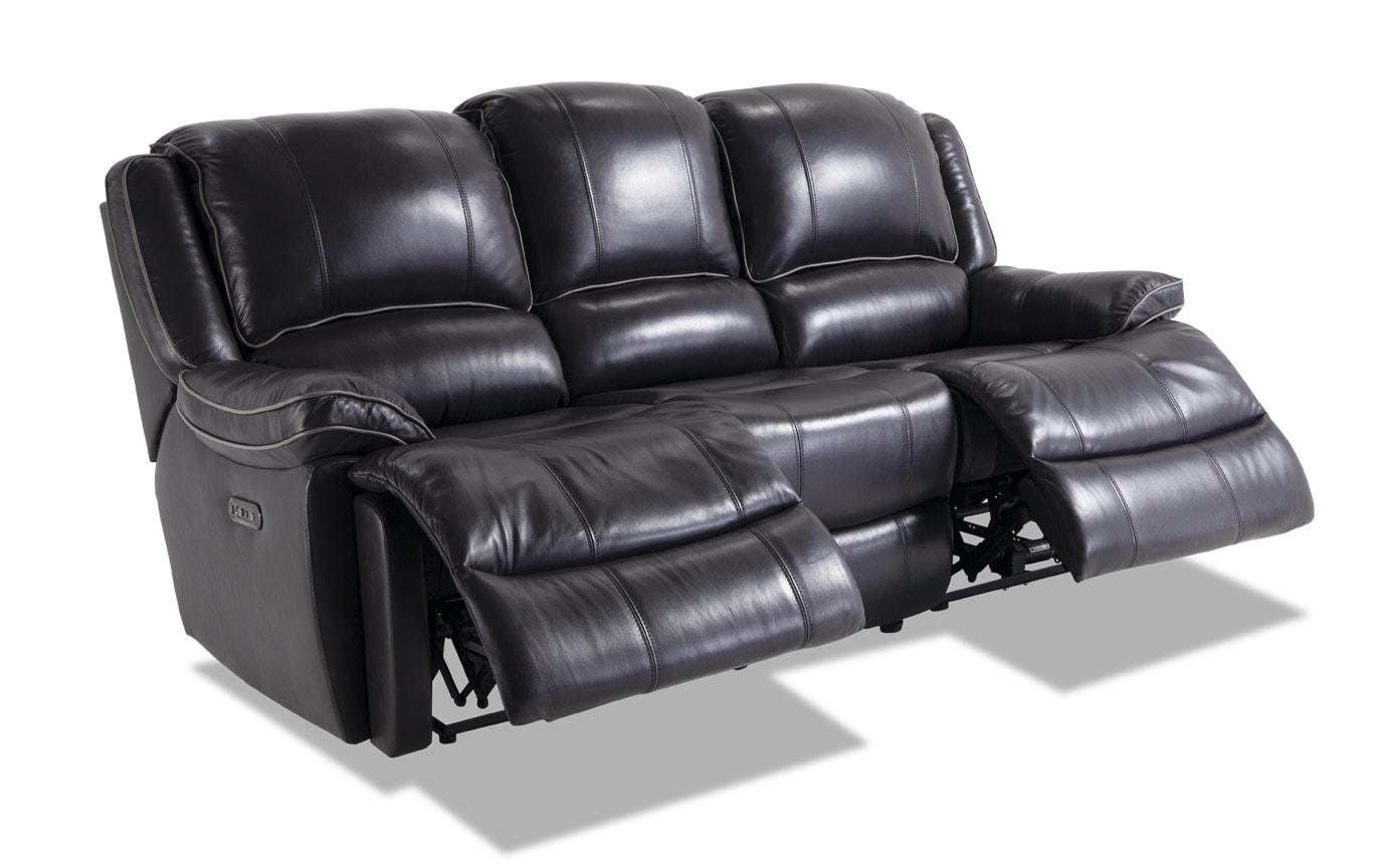 Phoenix Black Leather Power Reclining Sofa | Bobs.com