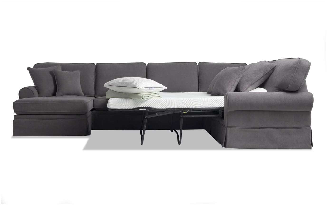 Katie Charcoal 4 Piece Bob-O-Pedic Gel Right Arm Facing  Sleeper Sectional
