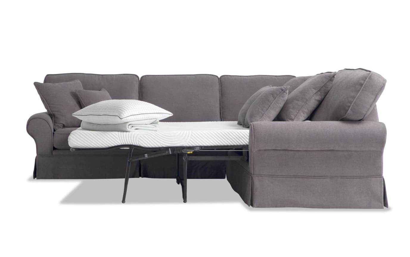 Katie Charcoal 3 Piece Bob-O-Pedic Gel Sleeper Sectional