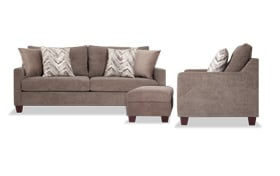 Serene Taupe Sofa, Chair & Storage Ottoman