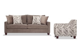 Serene Taupe Sofa & Accent Chair