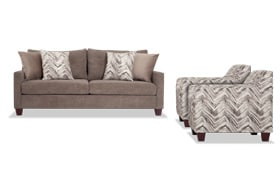 Serene Taupe Sofa & 2 Accent Chairs