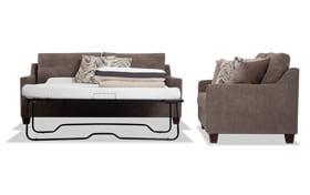 Serene Taupe Bob-O-Pedic Queen Sleeper Sofa & Loveseat