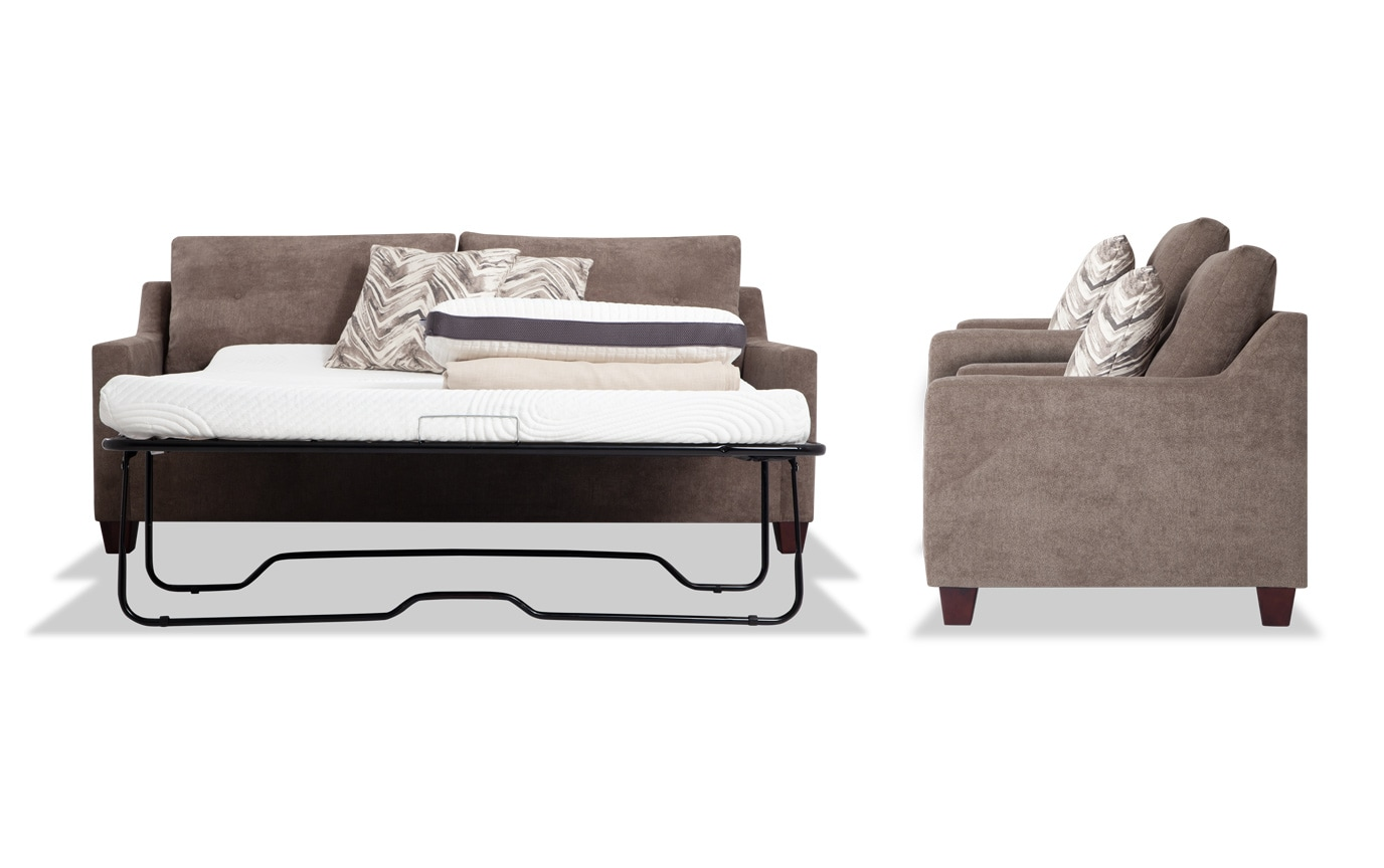 Serene Taupe Bob-O-Pedic Queen Sleeper Sofa & 2 Chairs