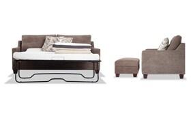 Serene Taupe Bob-O-Pedic Queen Sleeper Sofa, Chair & Storage Ottoman