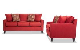 Jessie 72'' Red Sofa & Loveseat