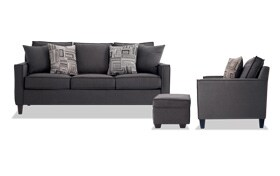 Jessie 88'' Gray Sofa, Chair & Storage Ottoman
