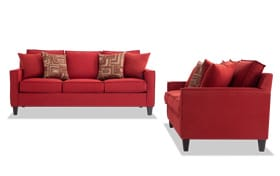 Jessie 80'' Red Sofa Set