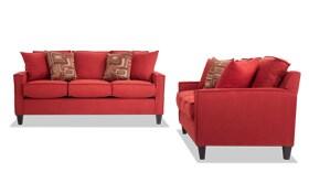 Jessie 72'' Red Sofa Set