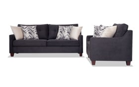 Serene Black Sofa & Loveseat