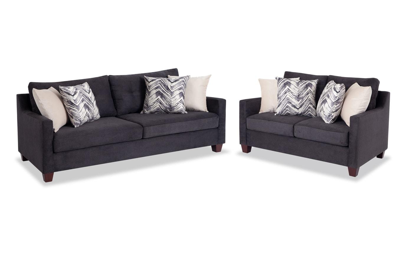 Serene Black Sofa & Loveseat