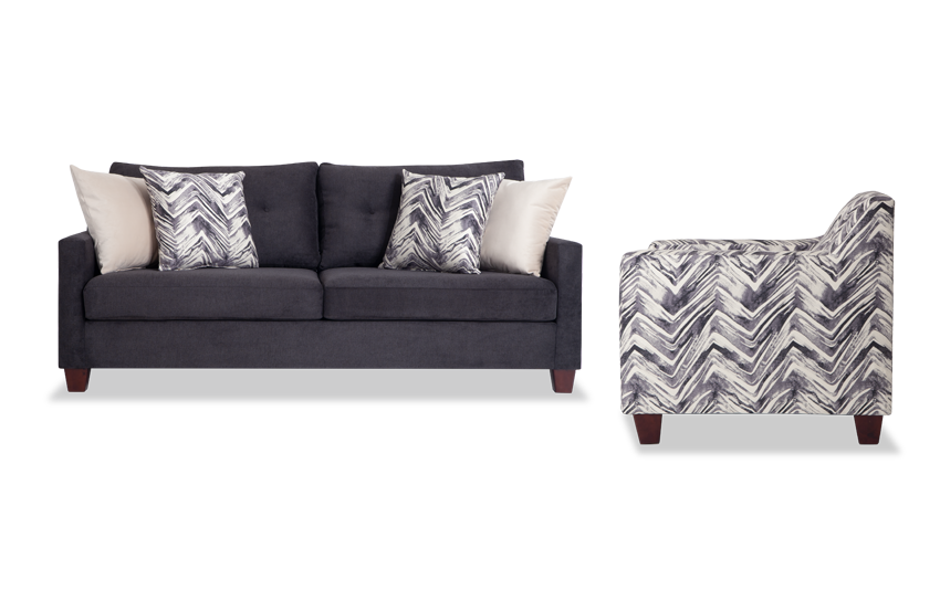 Serene Black Sofa & Accent Chair