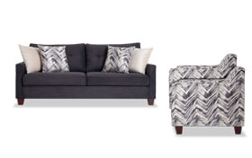 Serene Black Sofa & 2 Accent Chairs