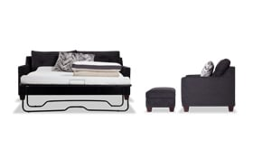 Serene Black Bob-O-Pedic Queen Sleeper Sofa, Chair & Storage Ottoman