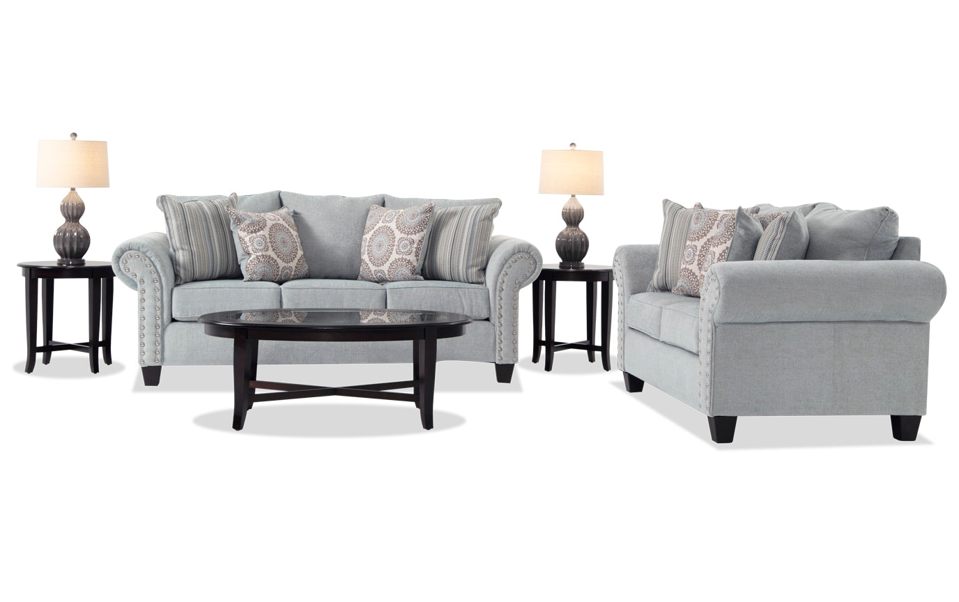 Artisan Blue 7 Piece Living Room Set Bobs Com