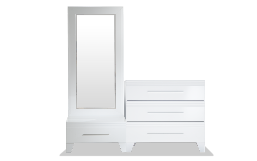 Amalfi White Dressing Mirror with Two Chests