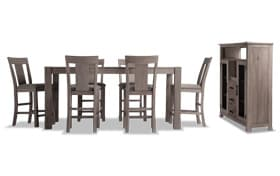 "Summit 42"" x 78"" Gray 8 Piece Counter Set with Server"