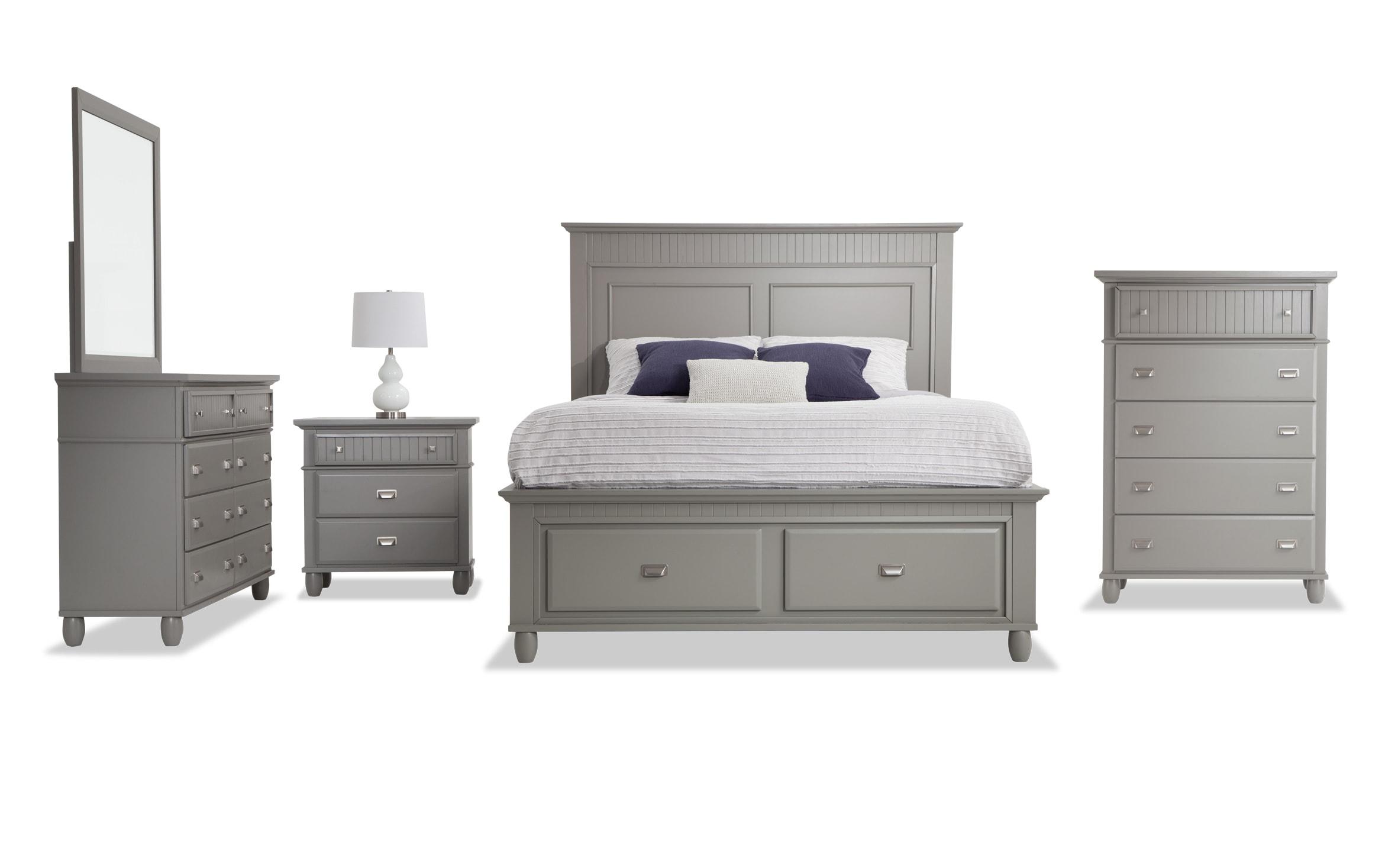 Spencer Queen Gray Storage Bedroom Set Bobs Com
