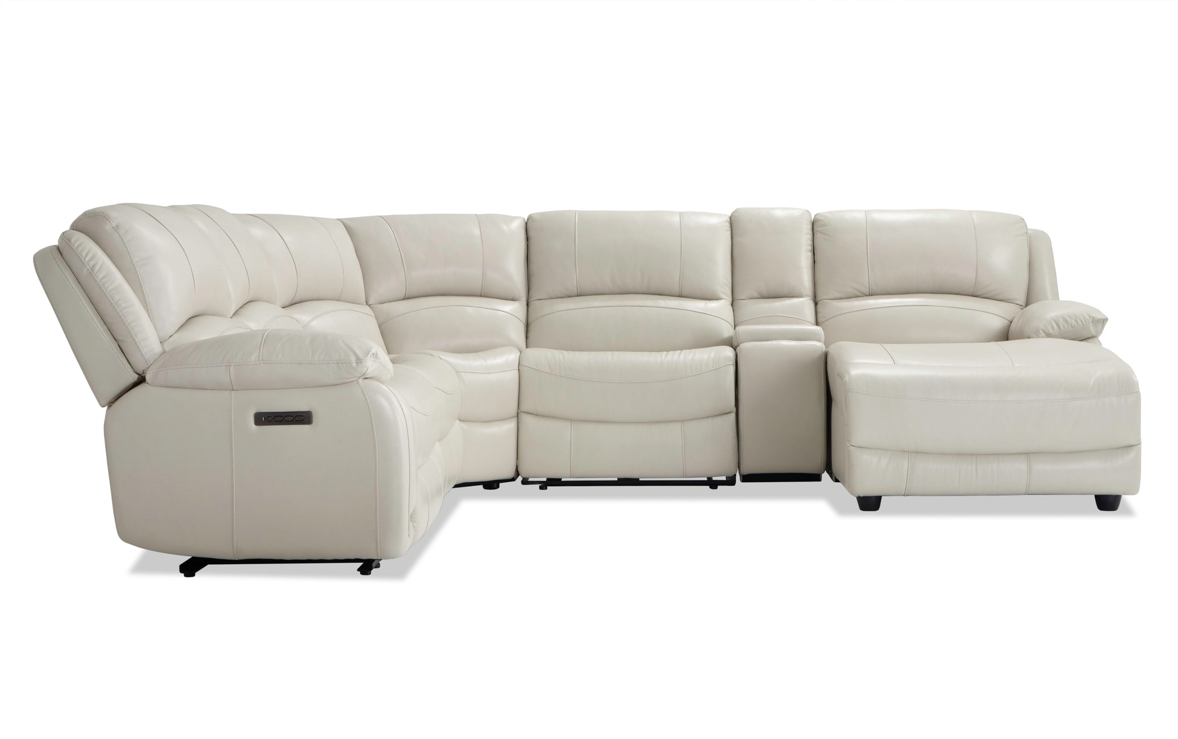 Titan Ice Leather 6 Piece Power Reclining Left Arm Facing Sectional Bobs Com