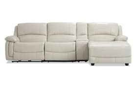 Titan Ice Leather 4 Piece Power Reclining Left Arm Facing Sectional