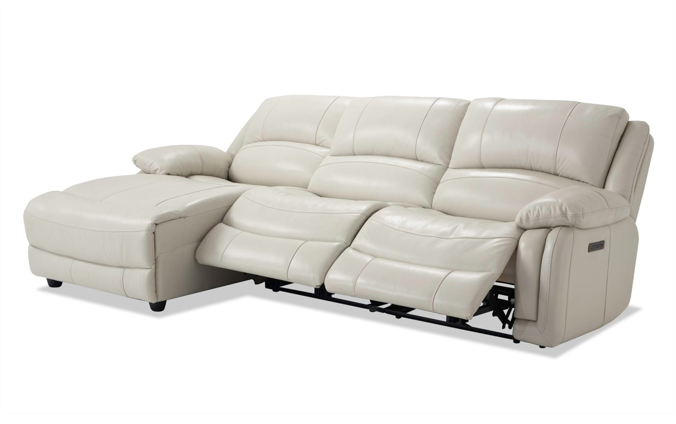 Titan Ice Leather 3 Piece Power Reclining Right Arm Facing Sectional