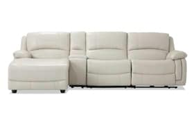 Titan Ice Leather 4 Piece Power Reclining Right Arm Facing Sectional