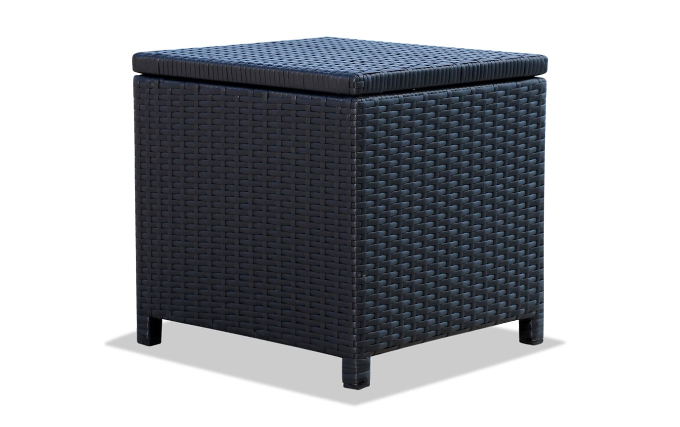Keane Black Storage Ottoman