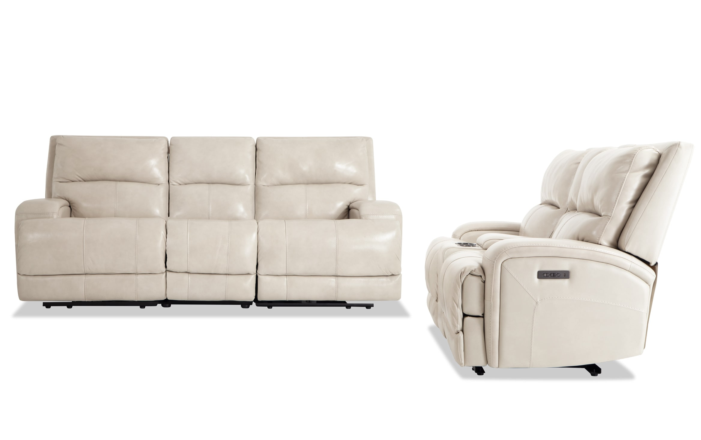 Cascade White Leather Reclining