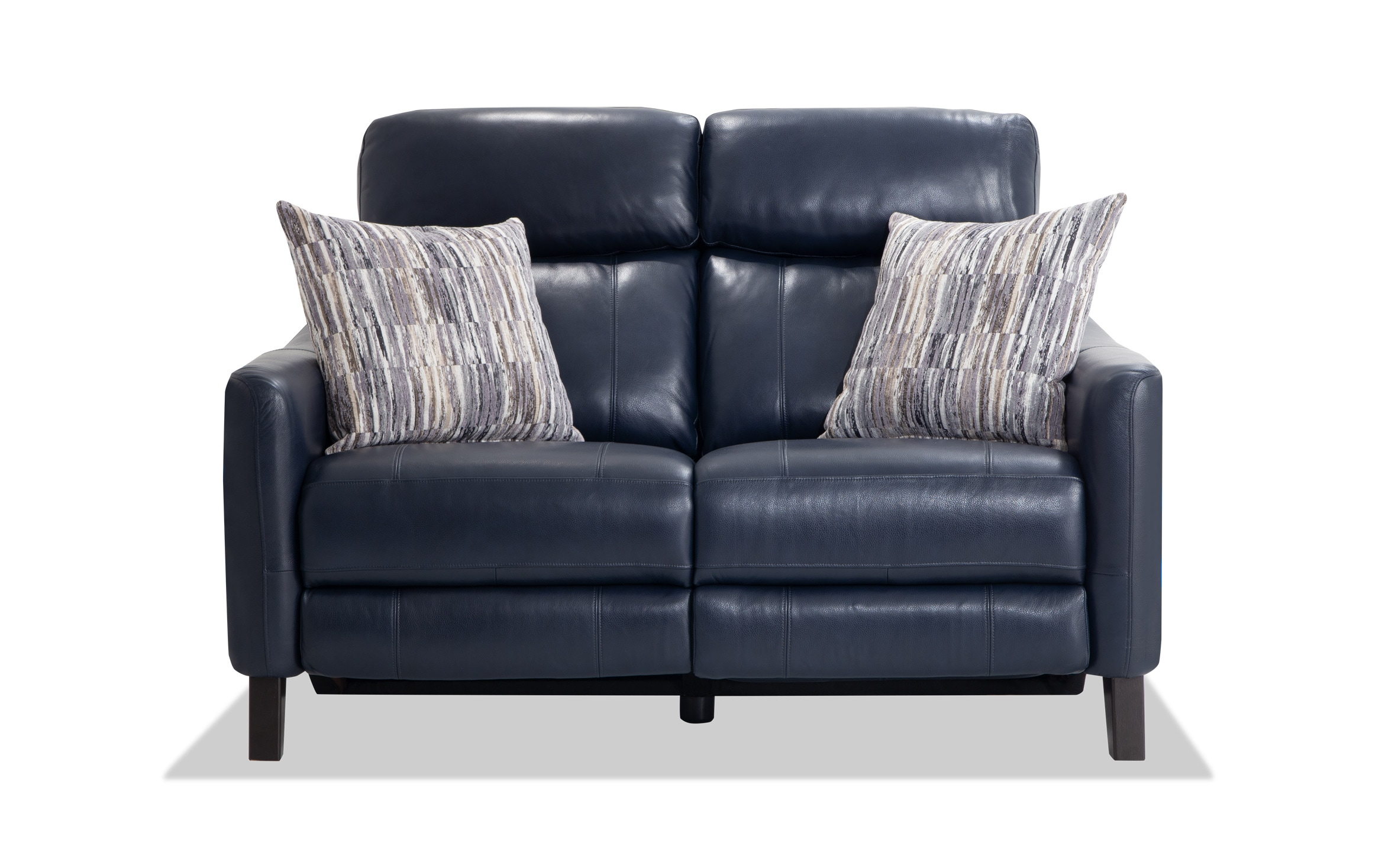 Picture of: Symmetry Navy Leather Power Reclining Loveseat Bobs Com