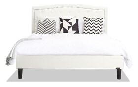 Roma Full Ivory Upholstered Bed