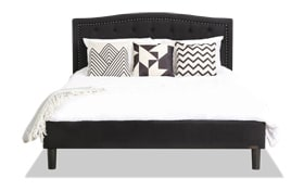 Roma Full Black Upholstered Bed