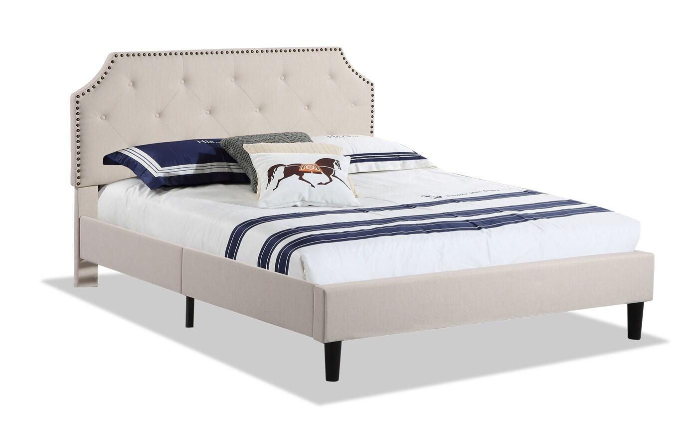 Nafisa Full Ivory Upholstered Bed