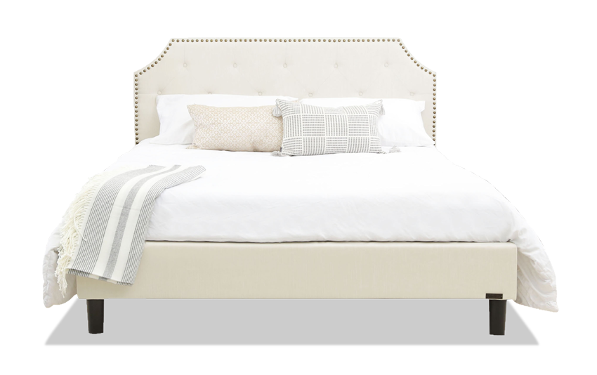 Nafisa Queen Ivory Upholstered Bed