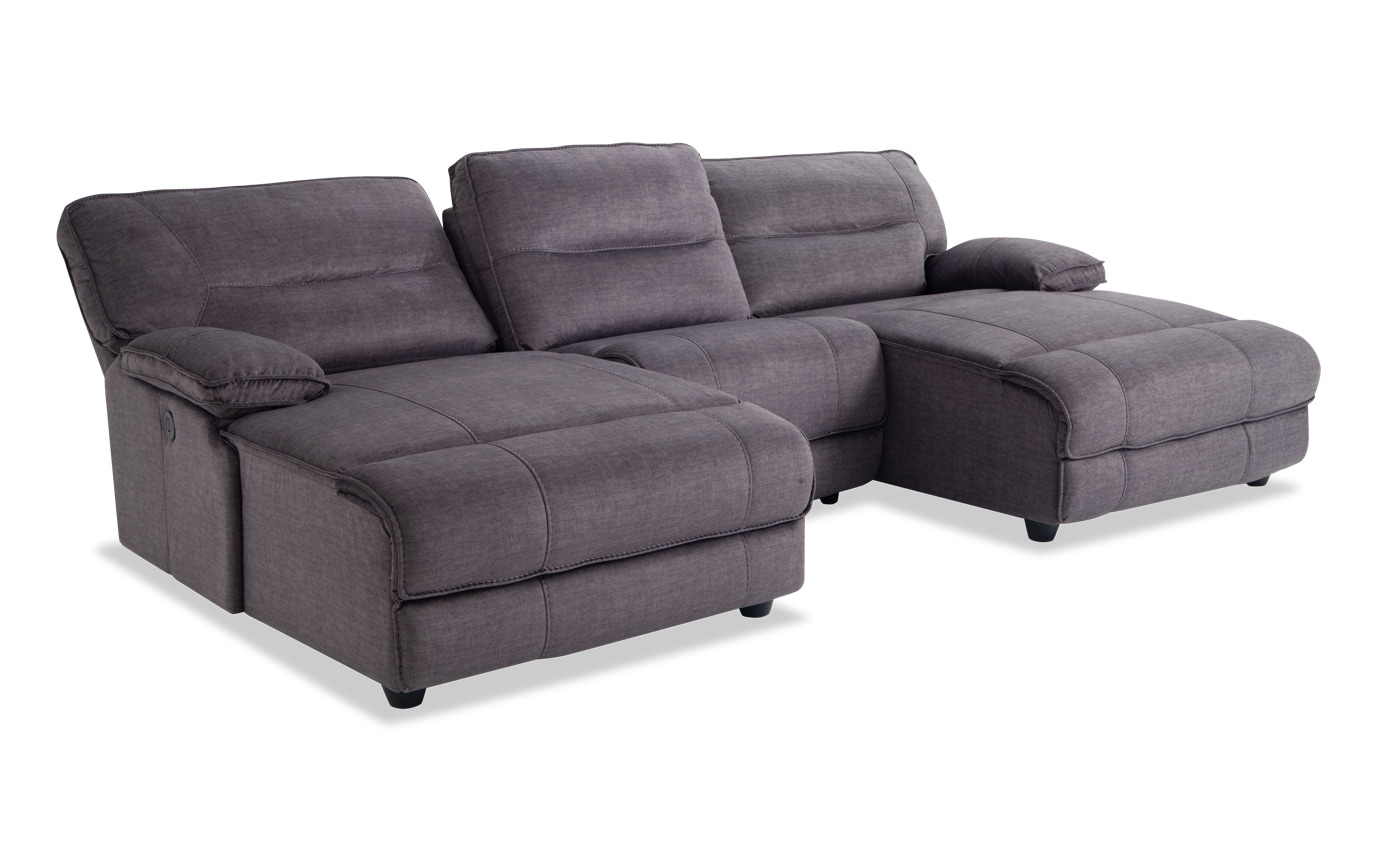 Pacifica Gray 3 Piece Power Reclining Sectional
