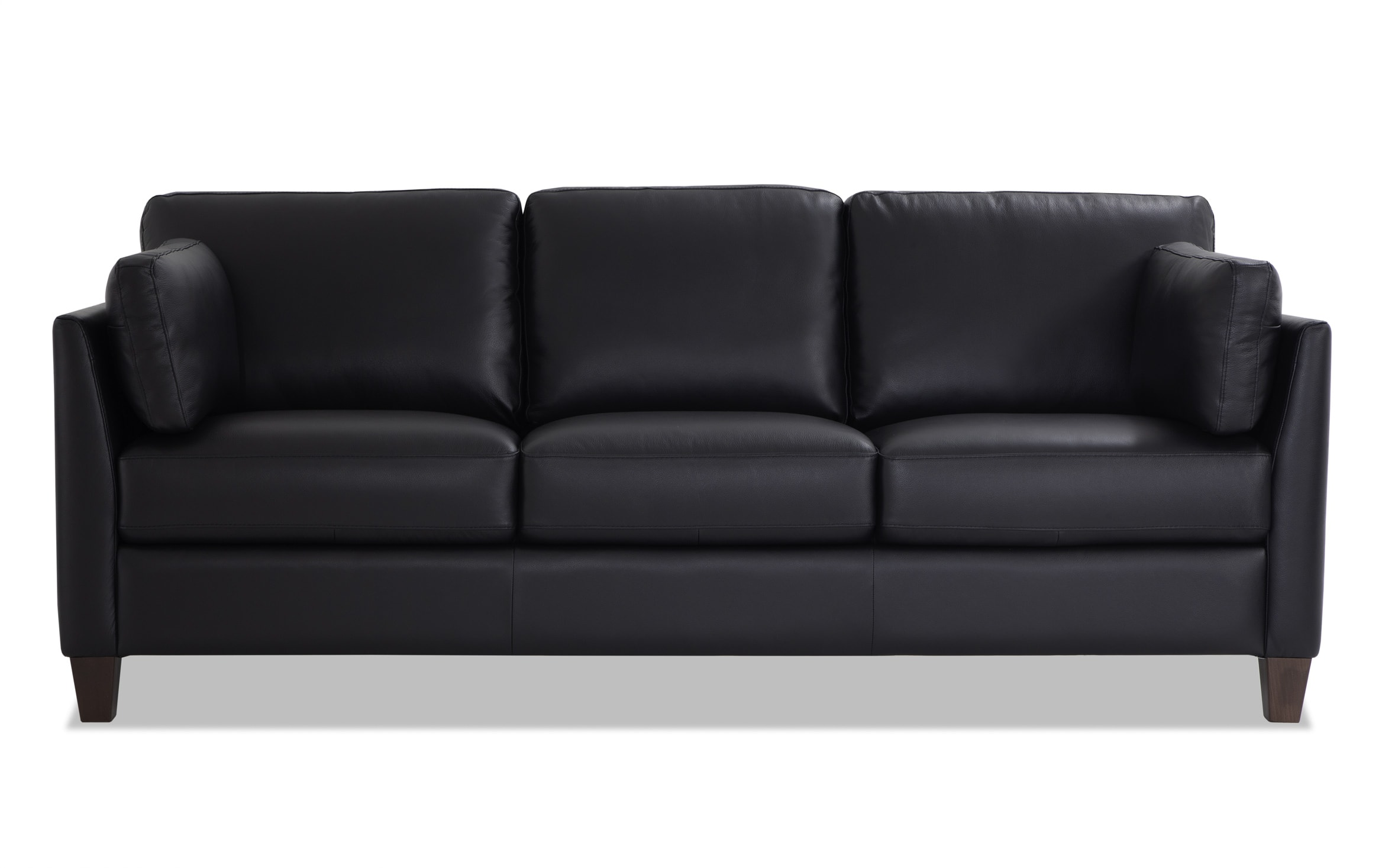 Antonio Black Leather Sofa Bobs