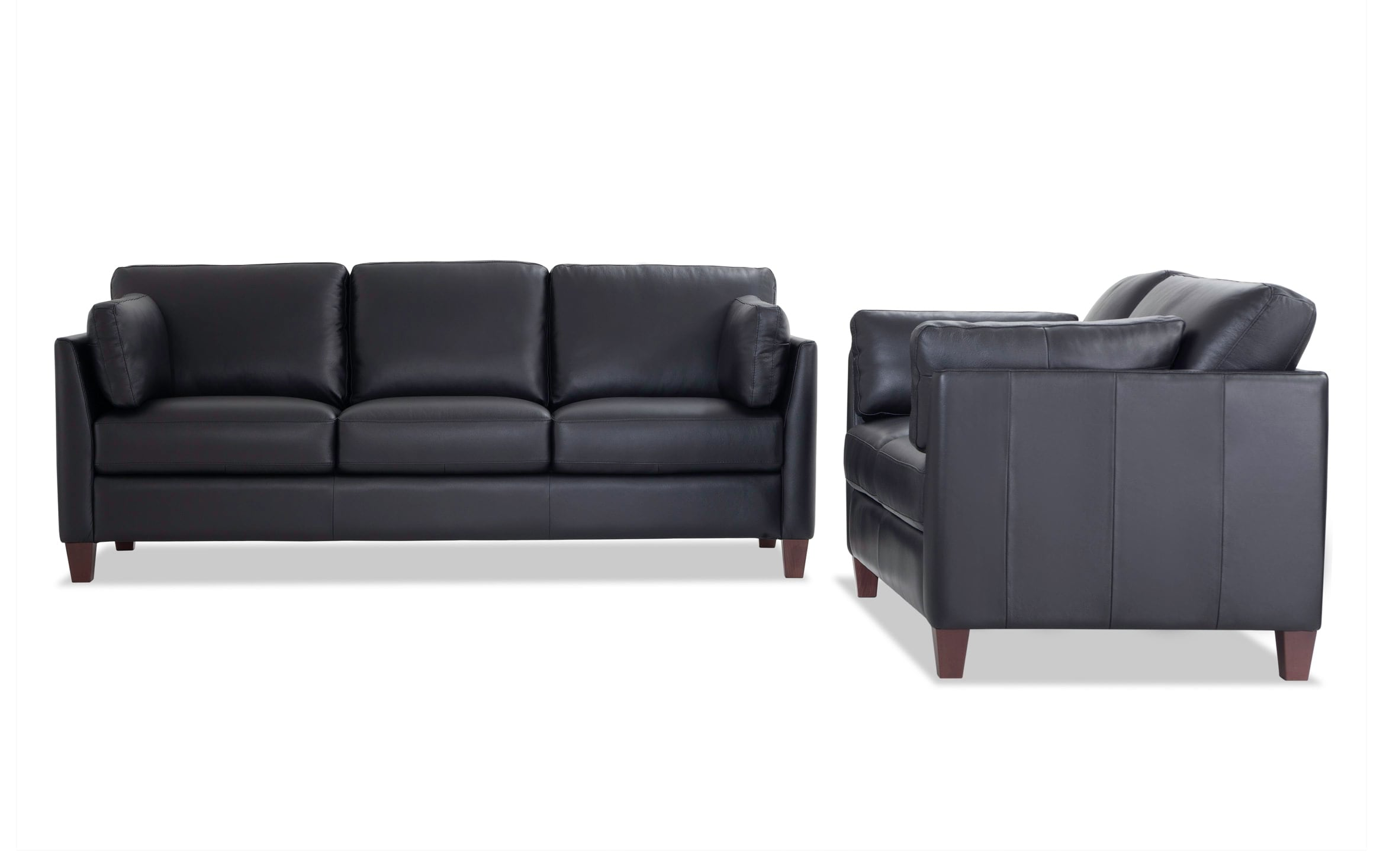 Antonio Black Leather Sofa Loveseat