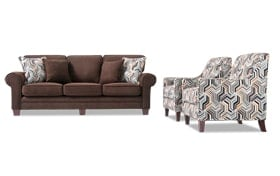 Gracie 90 Quot Chocolate Sofa Amp 2 Accent Chairs Bobs Com
