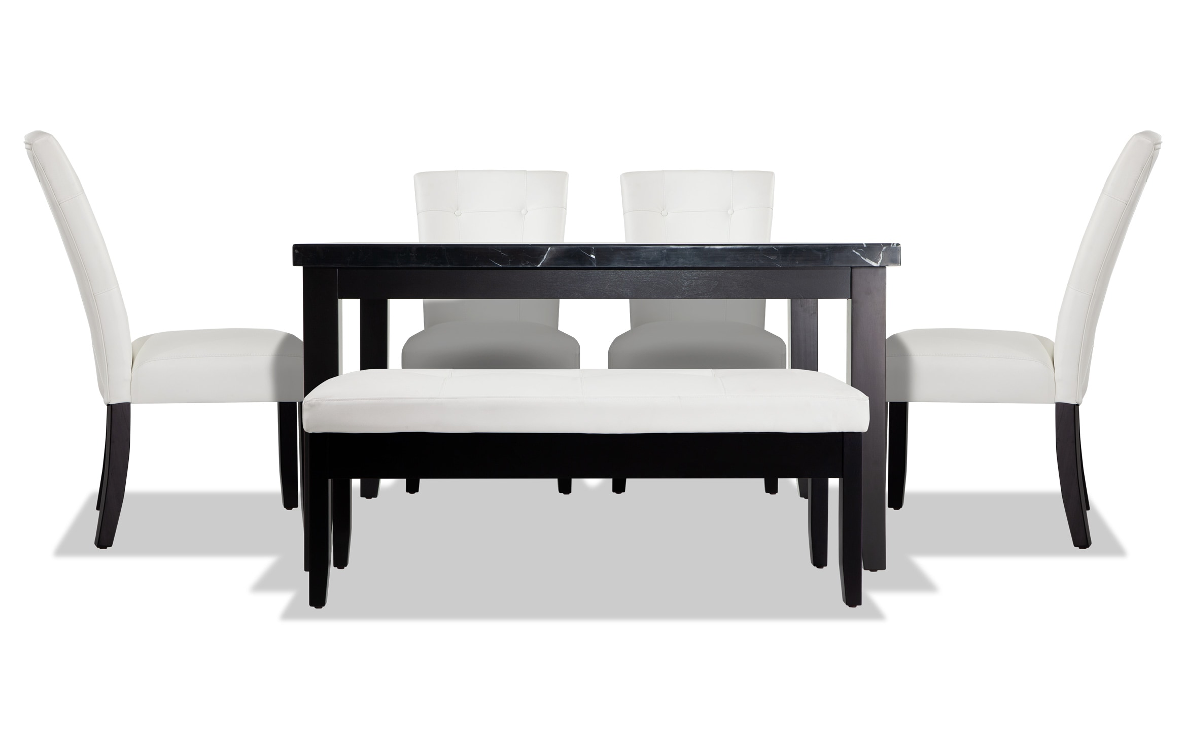 Montibello Black Marble 54 X 54 6 Piece Dining Set With Storage Bench Bobs Com