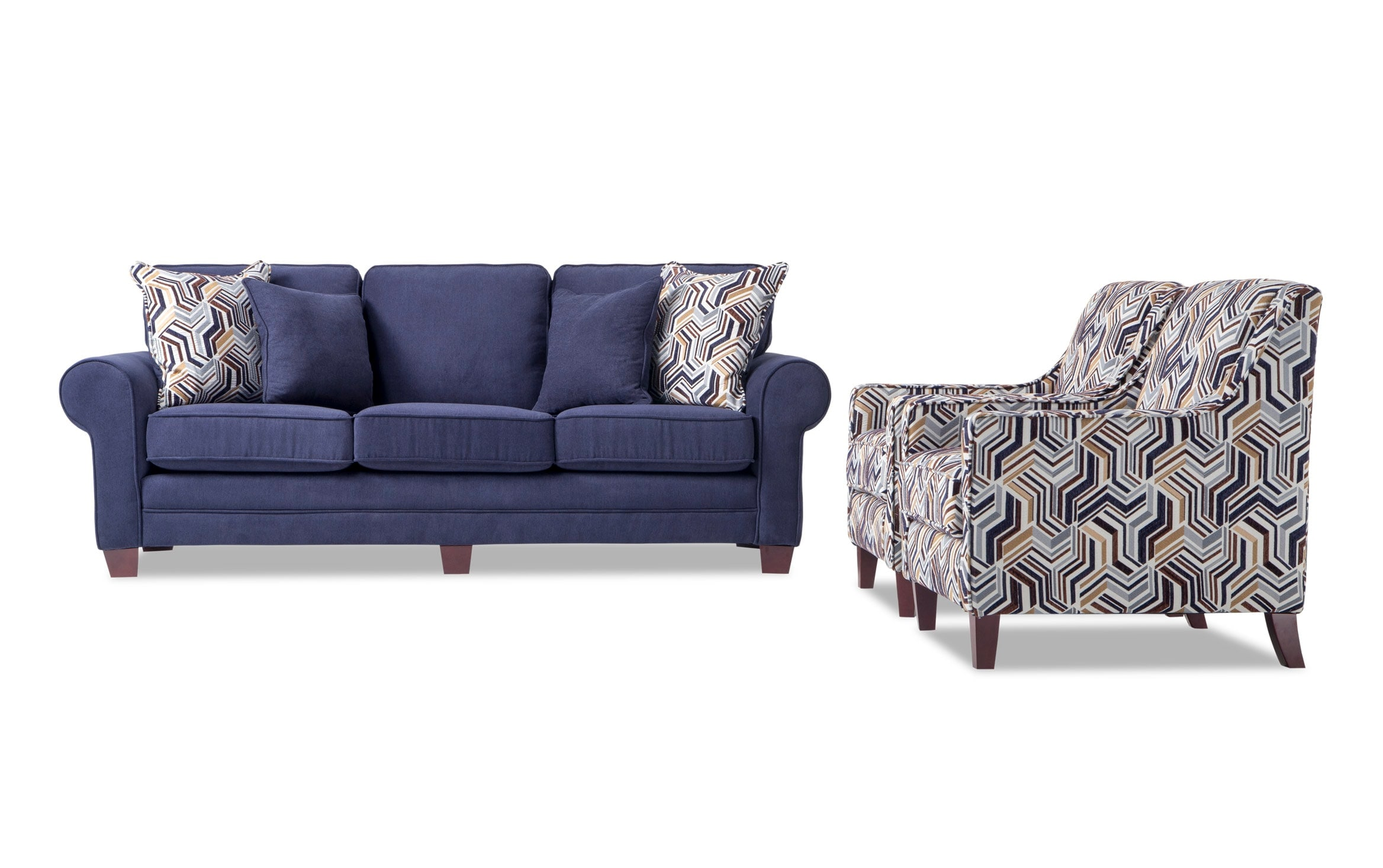 Picture of: Gracie 90 Navy Sofa 2 Accent Chairs Bobs Com